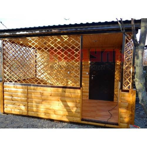 Дачный домик размером 5х4х3,5 м с верандой