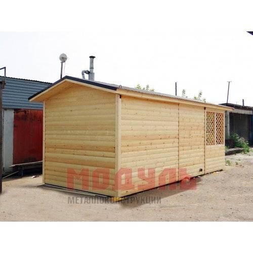 Дачный домик размером 7х3х3 м, отделка с наружи блок-хаусом, веранда и комната