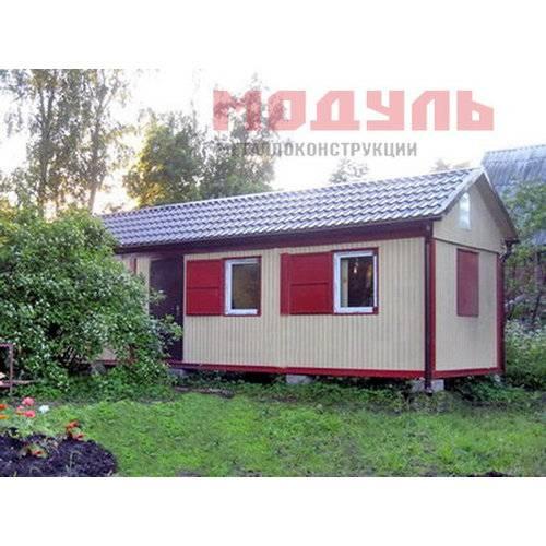 Дачный домик размером 9х3х3 м с дополнительной 2-х скатной крышей