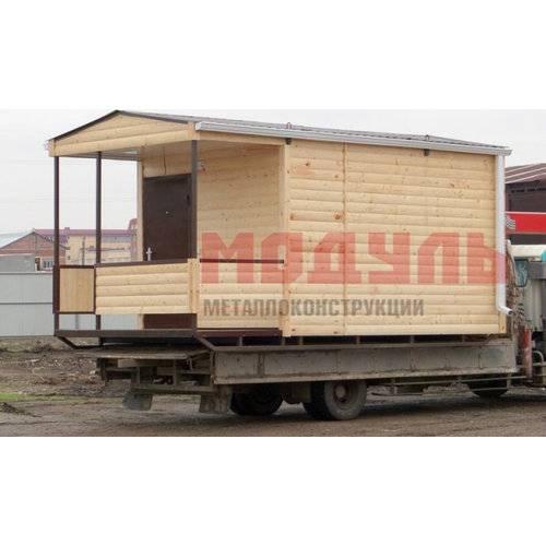 Дачный домик на лыжах размером 5х3х3 м, веранда и комната