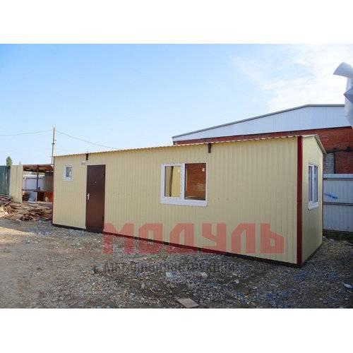 Дачный домик размером 9х3х3м состоит из 2-х комнат, санузла и кухни