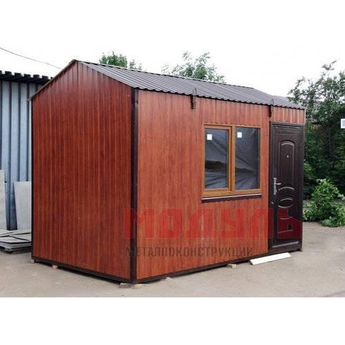 Дачный домик размером 4х2,5х2,7 м отделка снаружи из металлопрофиля цвет темное дерево