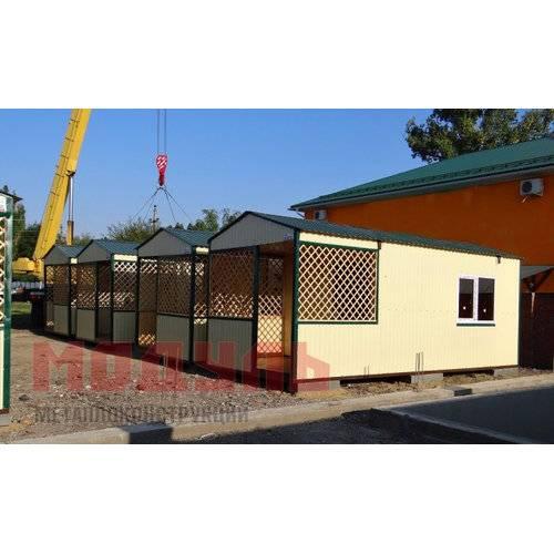 Домики для базы отдыха, утепленные размером 7х3х3 м, состоят из прихожей, санузла, комнаты и веранды