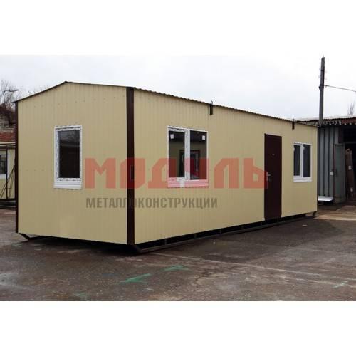 Садовый домик размером 9х3х3м, утепленный, поделен на прихожую, комнату, кухню и санузел