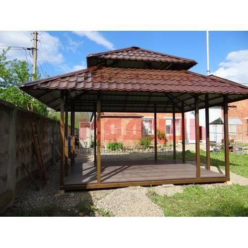 Дачная беседка с продуваемой крышей в 2-х уровнях размером 4,5х3,5х4 м