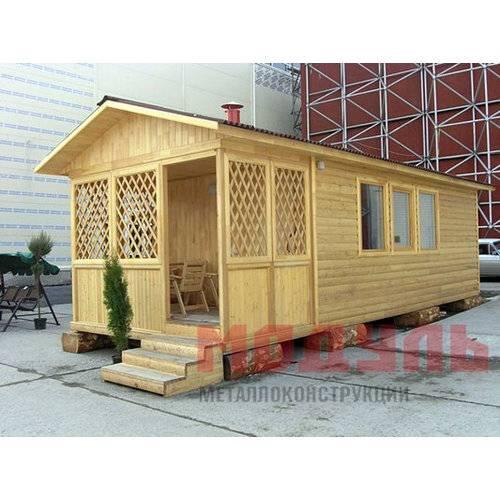 Садовый домик размером 8х3х3,1 м, веранда и комната
