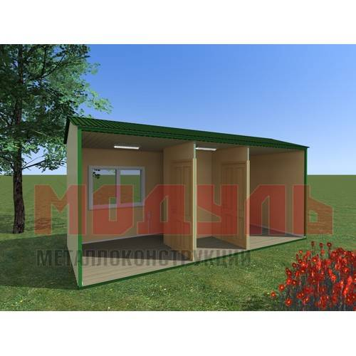Вагон-бытовка размером 6х2,4х2,7 м поделена на две комнаты и прихожую