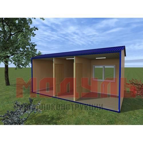 Вагон-бытовка размером 6х2,4х2,7 м, утепленная, поделена на две комнаты и прихожую