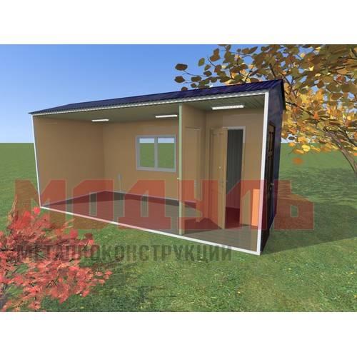 Вагон-бытовка размером 6х2,4х2,7 м, состоит из комнаты, прихожей и подсобного помещения