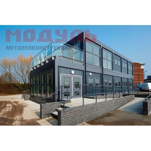 модульное здание с витражным остеклением