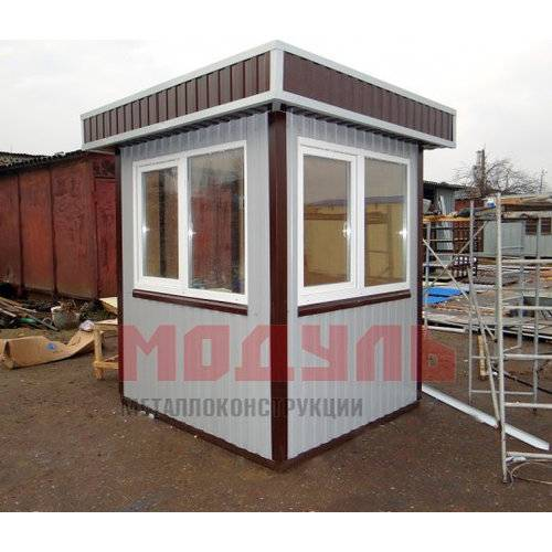 Пост охраны размером 2х2Х2,7 м, утепленный с окнами на три стороны